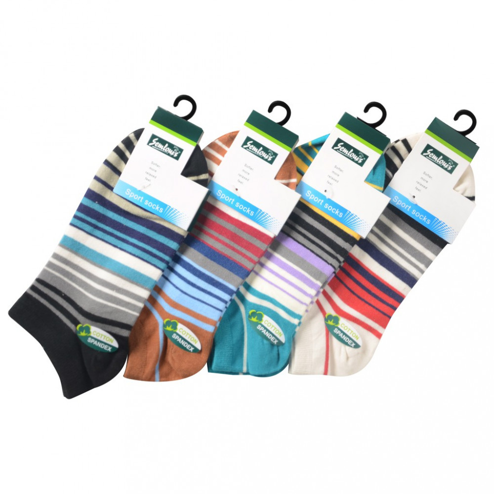 Semlouis Sport Low Cut Socks - Colourful Stripes (4 In 1)