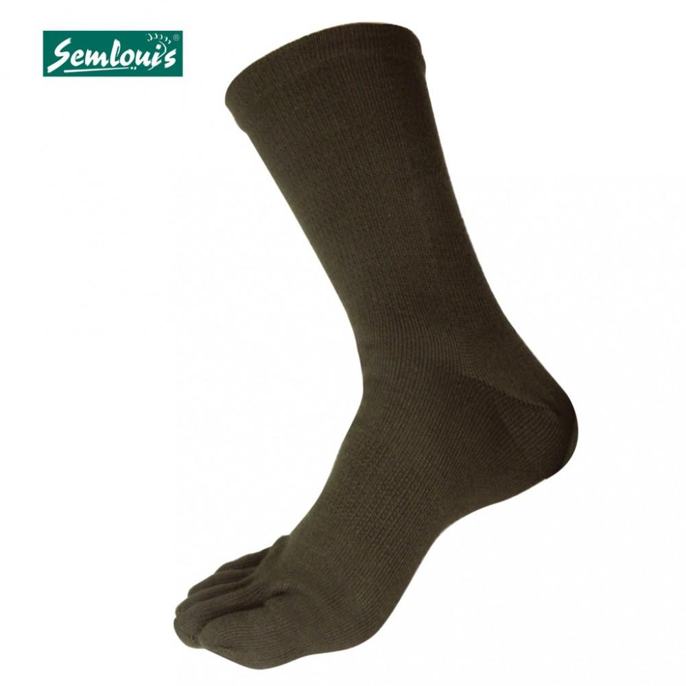 Semlouis 2 In 1 Toe Socks Ankle High - Dark Green