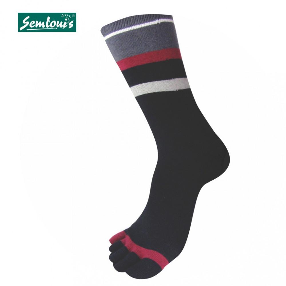 Semlouis 2 In 1 Toe Socks Quarter Crew - Dark Coloured Stripes