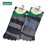 Semlouis 2 In 1 Toe Socks Quarter Crew - Blue & Grey Stripes