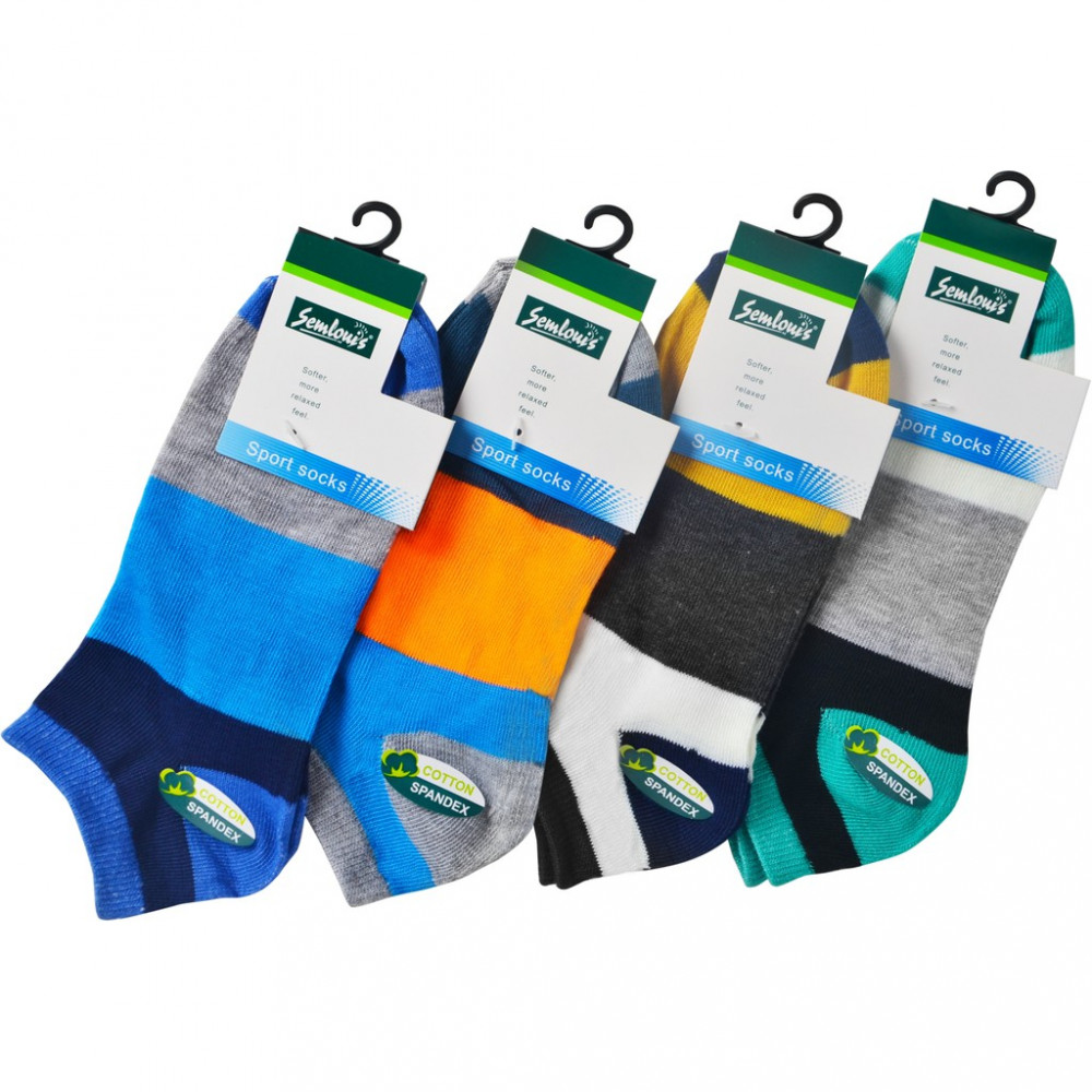 Semlouis 4 In 1 Sport Ankle High Socks - Broad Stripes Mix Colour