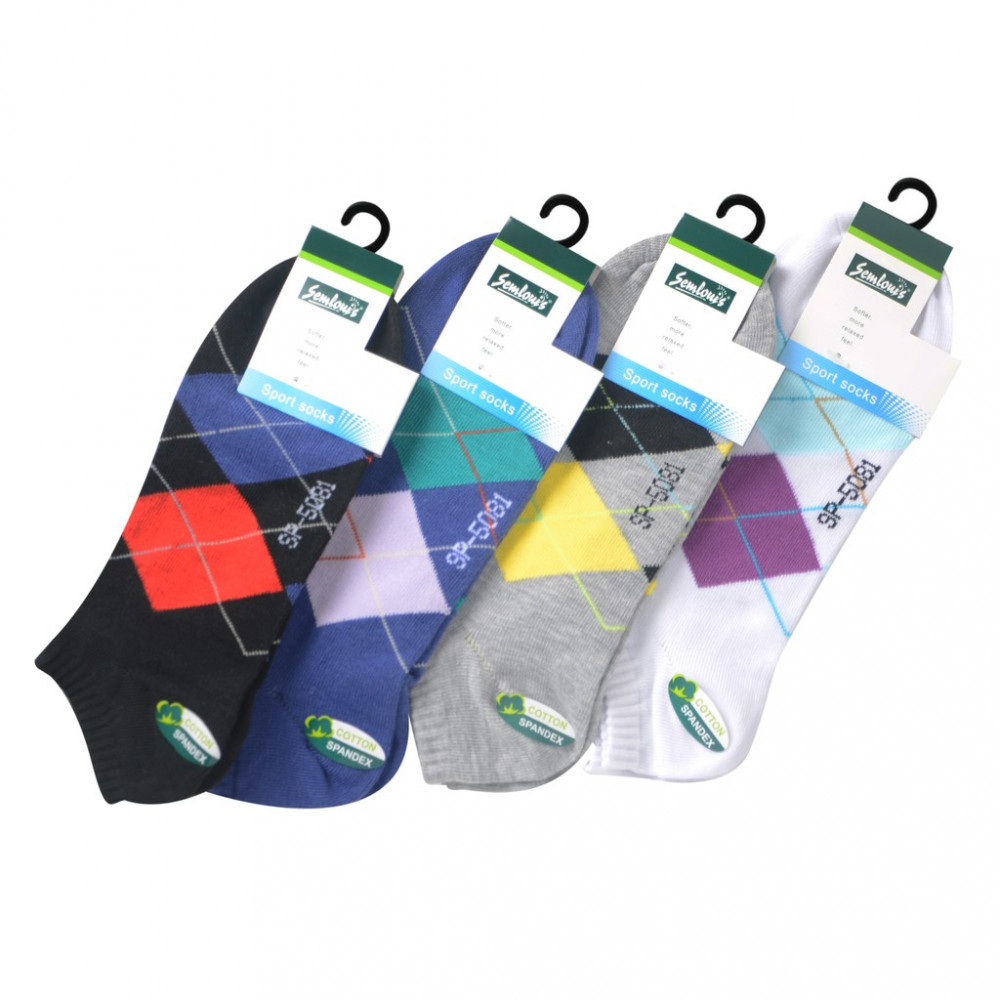 Semlouis 4 In 1 Sport Low Cut Socks - Argyle Pattern