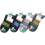 image of Semlouis 2 In 1 Sport Quarter Crew Cushion Base Socks - 3 Lines Pattern