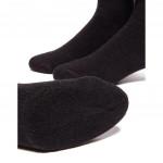 Semlouis 2 In 1 Sport Quarter Crew Cushion Base Socks - Plain Black