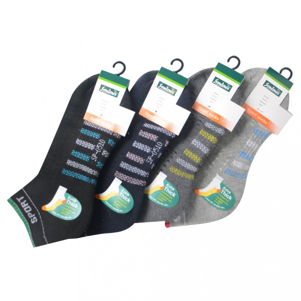 Semlouis 3 In 1 Sport Ankle Cushion Base Socks - 7 Lines With Sport Logo
