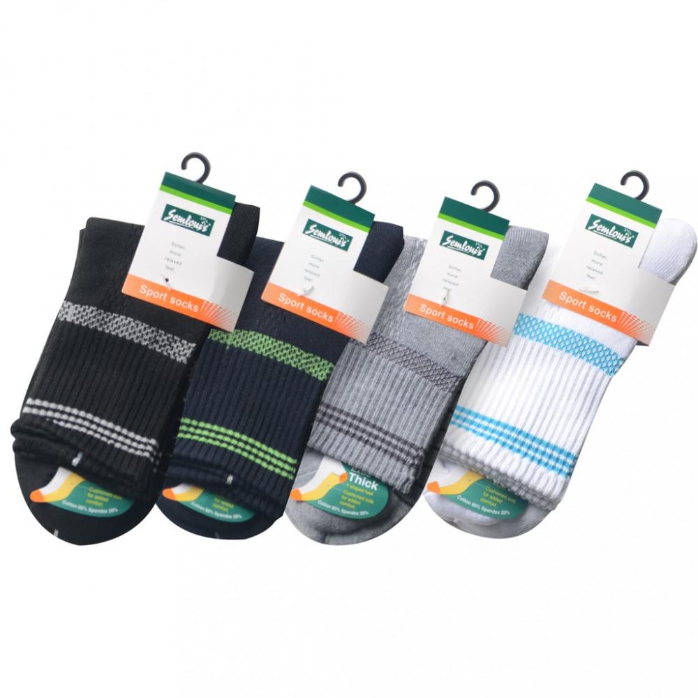 Semlouis 3 In 1 Sport Quarter Crew Cushion Base Socks - Grid Line Design