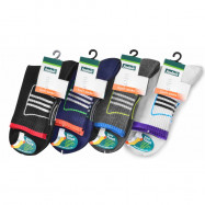image of Semlouis 3 In 1 Sport Quarter Crew Cushion Base Socks - 3 Lines In Square