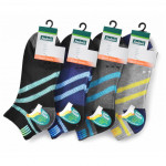 Semlouis 3 In 1 Sport Ankle Cushion Base Socks - Diagonal Lines