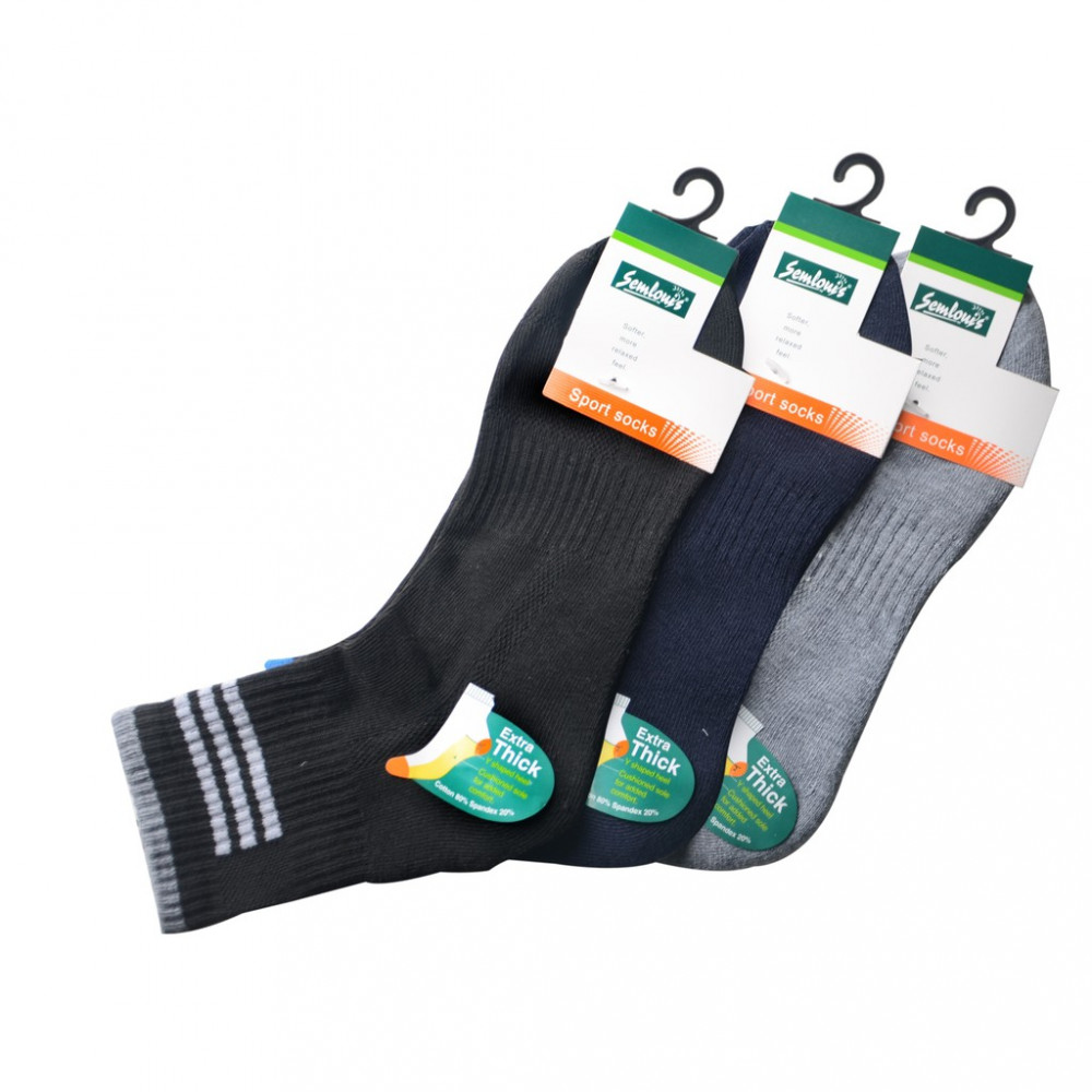 Semlouis 3 In 1 Sport Ankle Cushion Base Socks - Extra Thick Socks With Stripes