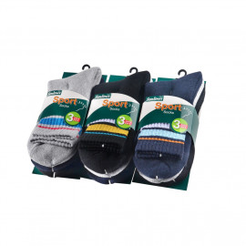 image of Semlouis Sport Quarter Crew Cushion Socks - Basic Design With Lines (6 In 1)