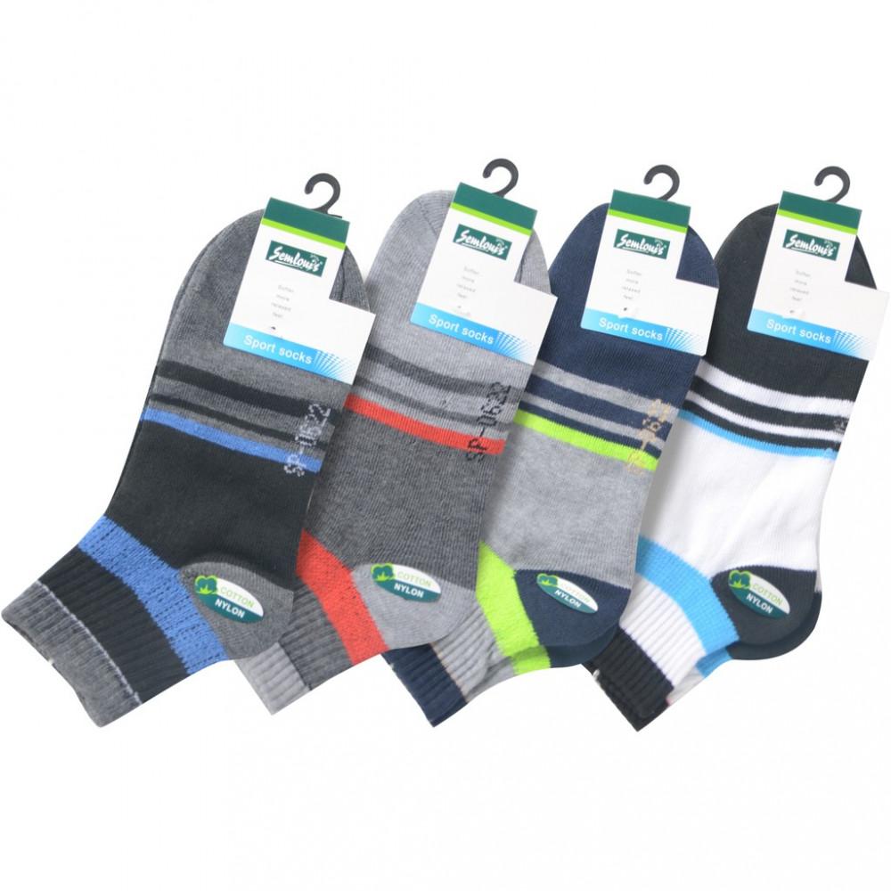 Semlouis 4 In 1 Sport Ankle Cushion Base Socks - Vertical Lines