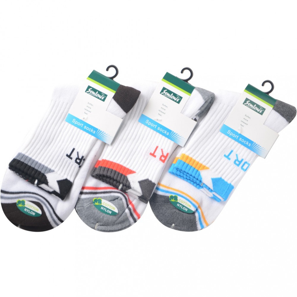 Semlouis 4 In 1 Sport Quarter Crew Cushion Base Socks -White With Design Edge