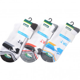 image of Semlouis 4 In 1 Sport Quarter Crew Cushion Base Socks -White With Design Edge