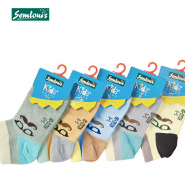 image of Semlouis Children Ankle Socks - Moustache