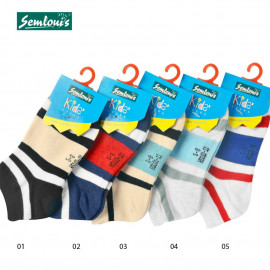 image of Semlouis Children Ankle Socks - Classic Stripes