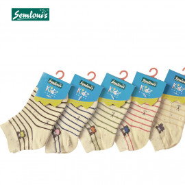image of Semlouis Children Ankle Socks - Stripes With Little Bear - Yellow
