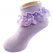 image of Semlouis Lace Children Ankle Socks - Ribbon & Daisy Embroidered Lace