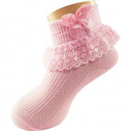 image of Semlouis Lace Children Ankle Socks - Patterned Lace With Ribbon