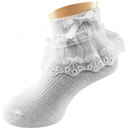 image of Semlouis Lace Children Ankle Socks - Cherry Embroidered Lace With Ribbon