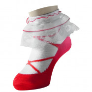 image of Semlouis Lace Children Ankle Socks - Coloured Ballerina Base With Flower Lace