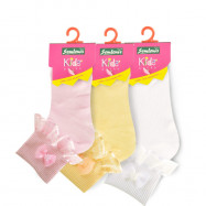 image of Semlouis Lace Children Ankle Socks - Lace With Pearl Ribbon