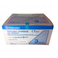 image of TERUMO SYRINGE WITH NEEDLE Luer Lock 3ml 100 Pcs 23G X 1""