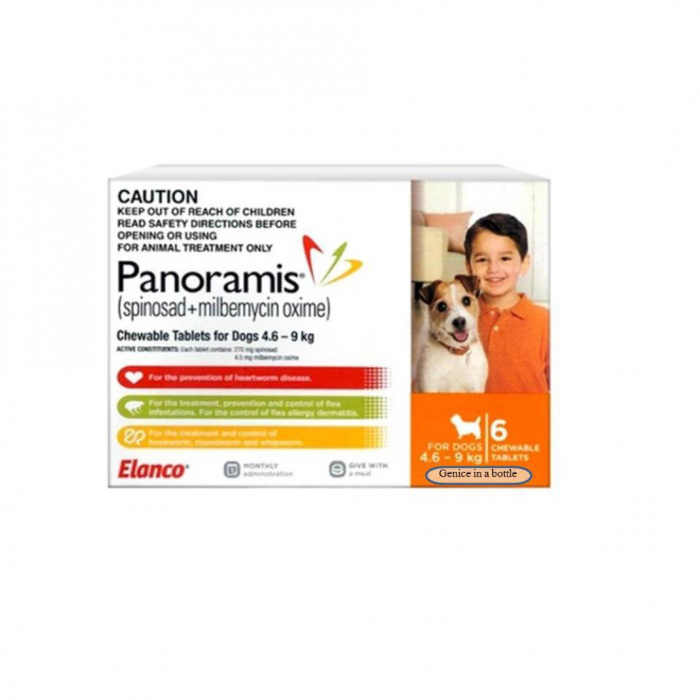 Panoramis Small Orange For Dogs 4.6-9kg 6tabs/Box/ Control Fleas