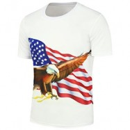 image of 3D EAGLE AMERICAN FLAG PRINTED SHORT SLEEVE T-SHIRT (WHITE) M
