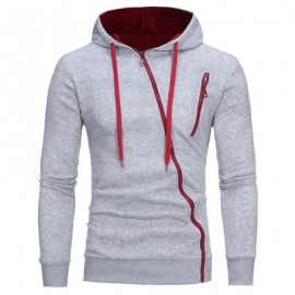 image of OBLIQUE ZIPPERS COLOR BLOCK FLEECE HOODIE (LIGHT GRAY) M