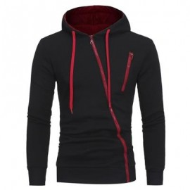image of OBLIQUE ZIPPERS COLOR BLOCK FLEECE HOODIE (BLACK) M