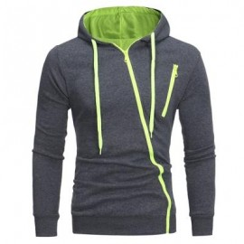image of OBLIQUE ZIPPERS COLOR BLOCK FLEECE HOODIE (DEEP GRAY) M