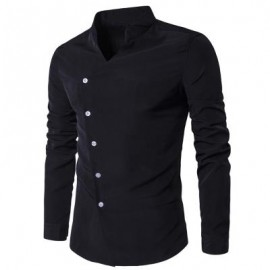 image of STAND COLLAR OBLIQUE PLACKET LONG SLEEVE SHIRT (BLACK) L