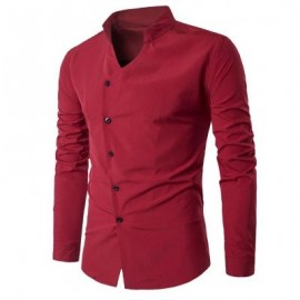 image of STAND COLLAR OBLIQUE PLACKET LONG SLEEVE SHIRT (RED) L