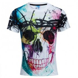 image of STYLISH MALE CASUAL 3D PRINTED ROUND NECK SHORT SLEEVE T-SHIRT (WHITE AND BLACK) 2XL