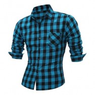 image of LONG SLEEVE BREAST POCKET BUTTON UP PLAID SHIRT (LIGHT BLUE) XL