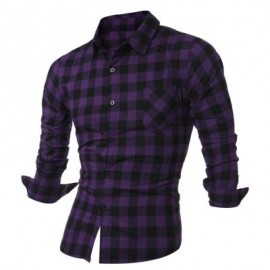 image of LONG SLEEVE BREAST POCKET BUTTON UP PLAID SHIRT (PURPLE) L