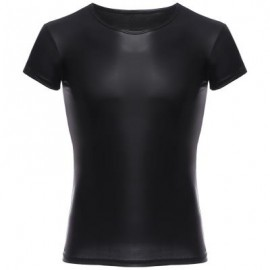 image of SEXY ROUND NECK SHORT SLEEVE MALE SHIRT (BLACK) M