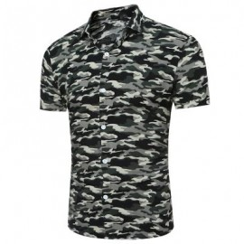 image of CAMOUFLAGE PRINT SHORT SLEEVE BREATHABLE SHIRT (CAMOUFLAGE GRAY) M