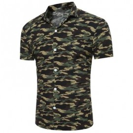 image of CAMOUFLAGE PRINT SHORT SLEEVE BREATHABLE SHIRT (ARMY GREEN CAMOUFLAGE) L