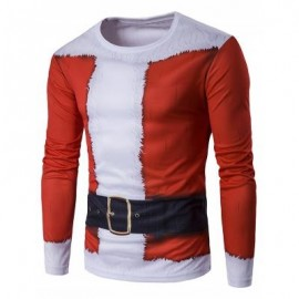 image of CREW NECK 3D FATHER CHRISTMAS COSTUME PRINT T-SHIRT (RED) XL