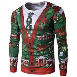 image of CREW NECK 3D CHRISTMAS TIE COSTUME FAUX TWINSET PRINT T-SHIRT (COLORMIX) XL