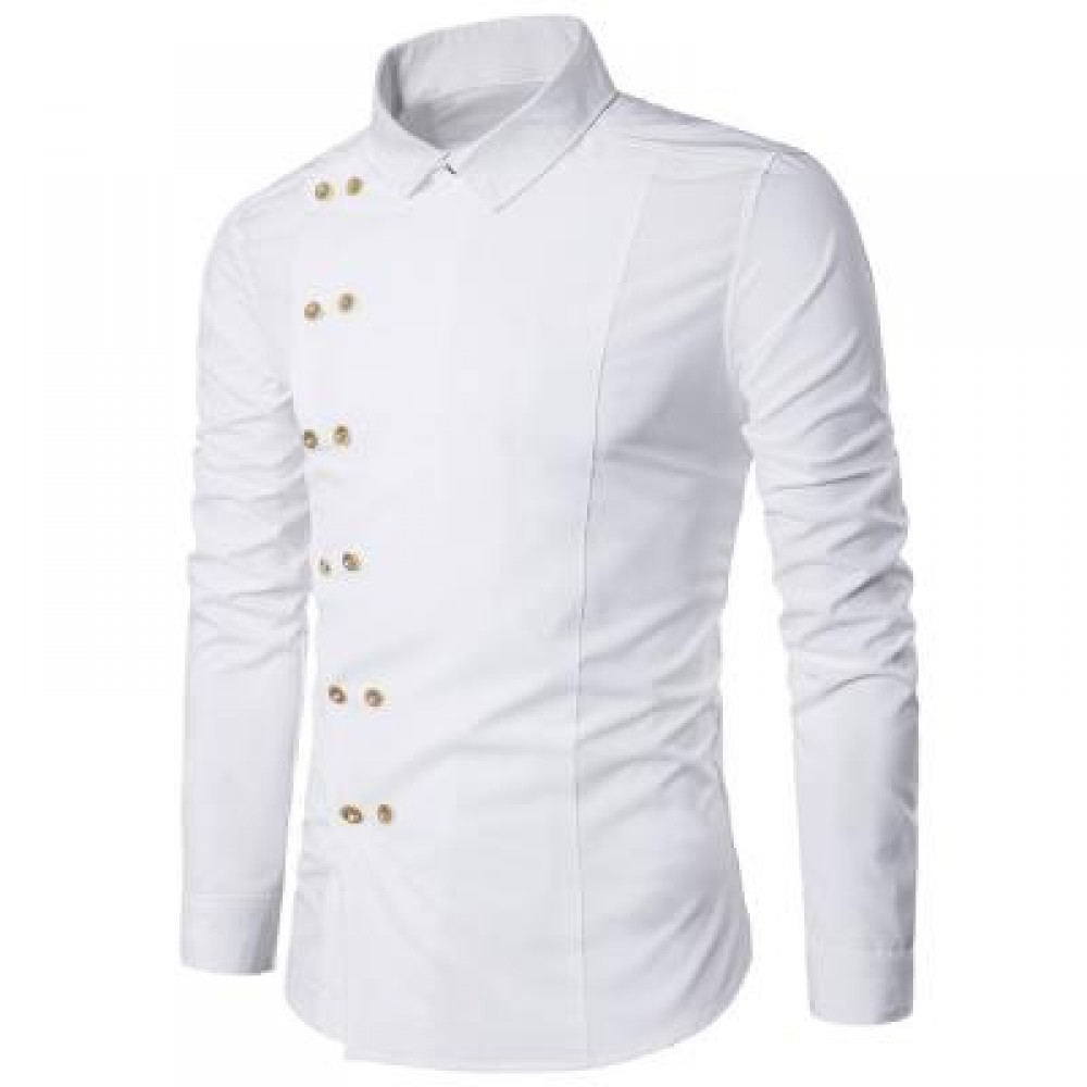 TURNDOWN COLLAR DOUBLE BREASTED LONG SLEEVE SHIRT (WHITE) L