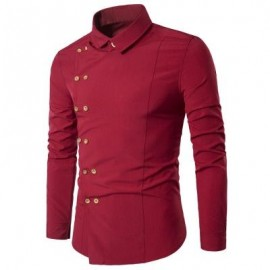 image of TURNDOWN COLLAR DOUBLE BREASTED LONG SLEEVE SHIRT (RED) L