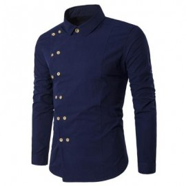 image of TURNDOWN COLLAR DOUBLE BREASTED LONG SLEEVE SHIRT (CADETBLUE) 2XL