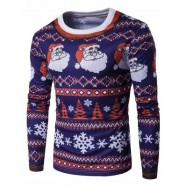 image of CREW NECK 3D FATHER CHRISTMAS AND SNOWFLAKE PRINT T-SHIRT (COLORMIX) L