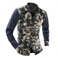 image of ORNATE PRINT LONG SLEEVE BUTTON-DOWN SHIRT FOR MEN (BEIGE) L