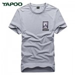 TAPOO PATTERN PRINTED ROUND NECK SHORT SLEEVE MALE SHIRT L