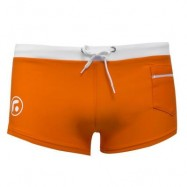 image of SEXY MEN COLOR BLOCK DRAWSTRING BEACH WEAR BOXERS (ORANGE) XL