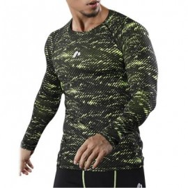 image of CAMOUFLAGE OPENWORK PANEL QUICK DRY GYM T-SHIRT (GREEN) L