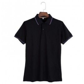 image of MALE SOLID COLOR TURN-DOWN COLLAR SHORT SLEEVE POLO SHIRT (BLACK) L